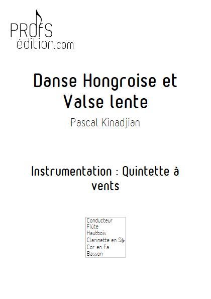 Danse hongroise et Valse lente - Quintette à vents - KINADJIAN P. - page de garde