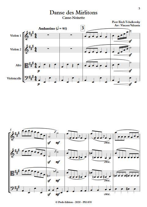 Danse des mirlitons - Quatuor à Cordes - TCHAIKOVSKY P. I. - app.scorescoreTitle