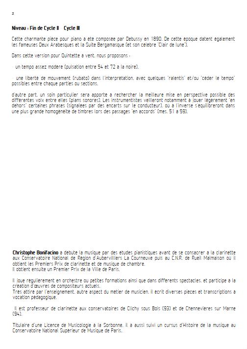 Rêverie - Quintette à Vents - DEBUSSY C. - Fiche Pédagogique