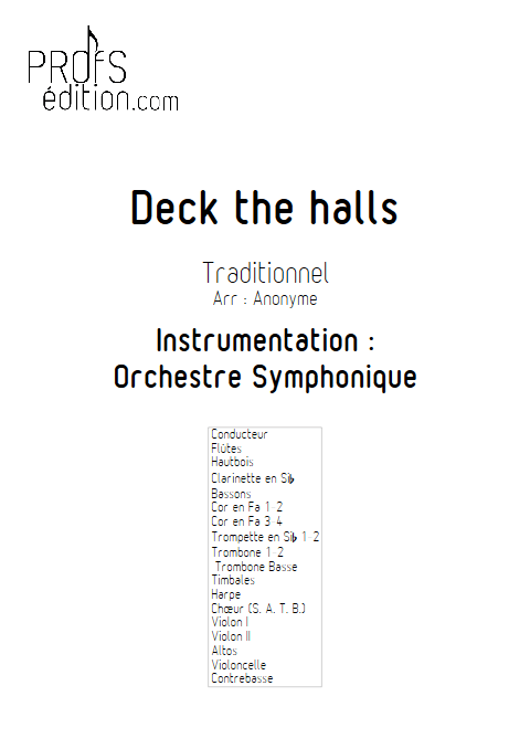 Deck the halls - Orchestre Symphonique & Chœur - TRADITIONNEL - page de garde