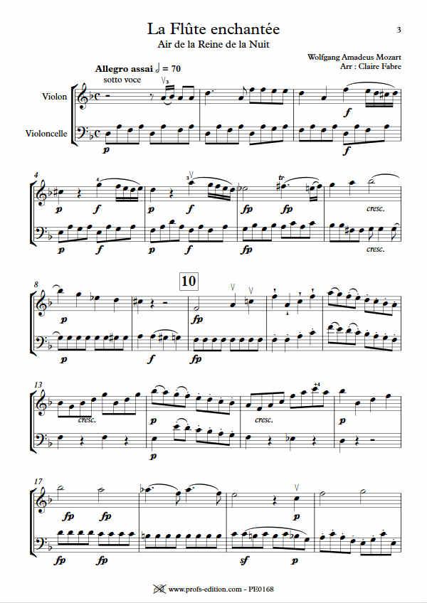 Air de la Reine de la Nuit - Duo Violon Violoncelle - MOZART W. A. - app.scorescoreTitle