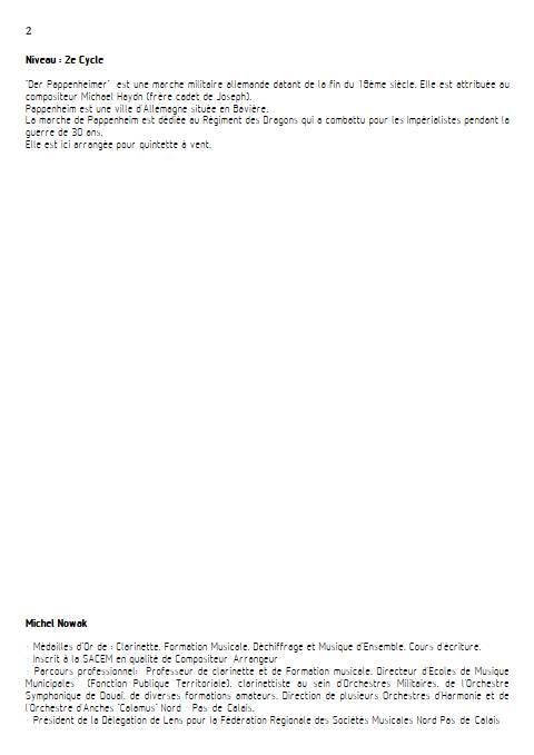 Der Pappenheimer - Quintette à vents - HAYDN M. - Fiche Pédagogique