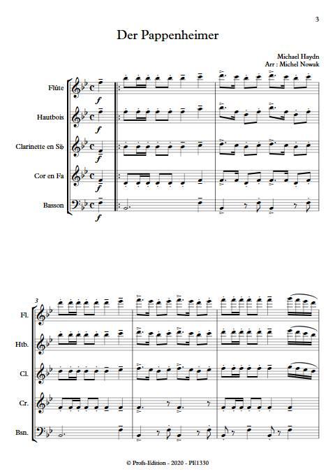 Der Pappenheimer - Quintette à vents - HAYDN M. - app.scorescoreTitle