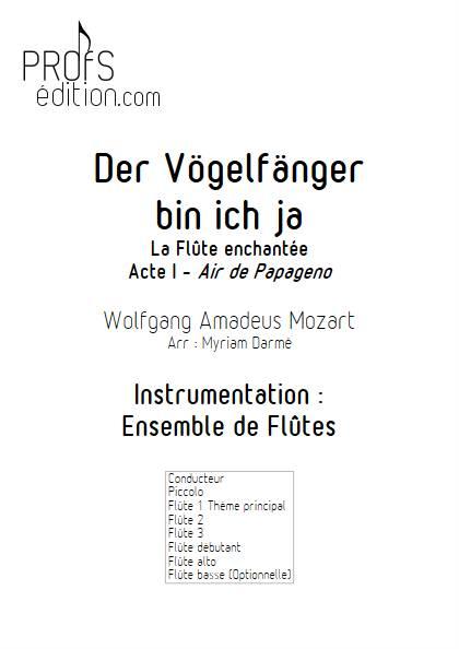 Der Vögelfänger bin ich ja - Ensemble de Flûtes - MOZART W.A. - page de garde