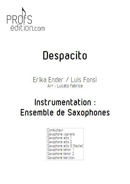 Despacito - Ensemble de Saxophones - FONSI L. - page de garde