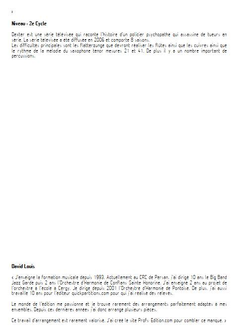 Dexter - Orchestre d'Harmonie - KENT R. - Fiche Pédagogique