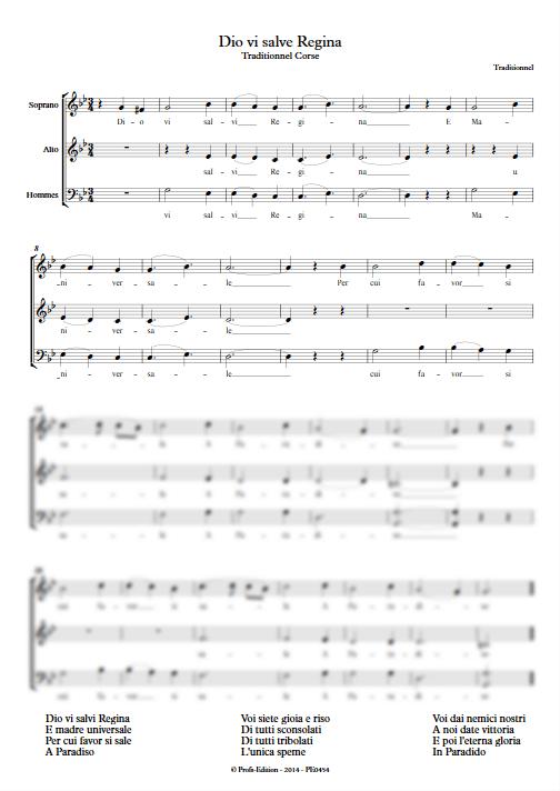 Dio vi salvi regina - 3 voix mixtes - TRADITIONNEL CORSE - app.scorescoreTitle