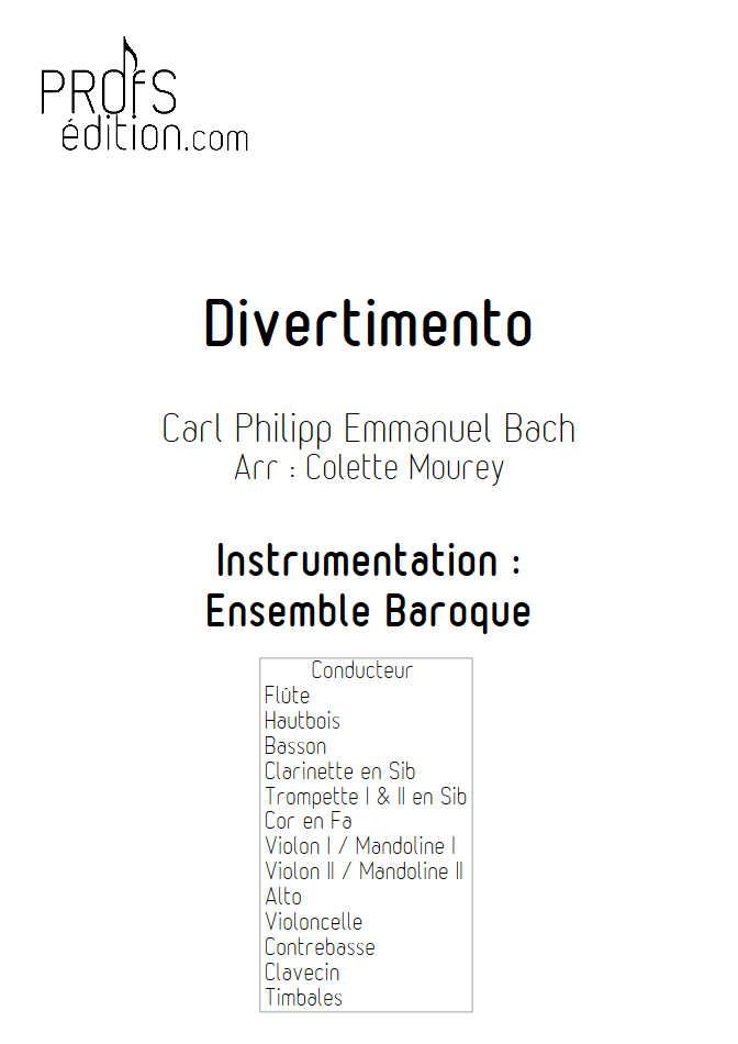 Divertimento - Ensemble Baroque - BACH C. P. E. - page de garde
