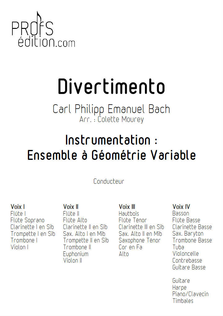 Divertimento - Ensemble à Géométrie Variable - BACH C. P. E. - page de garde