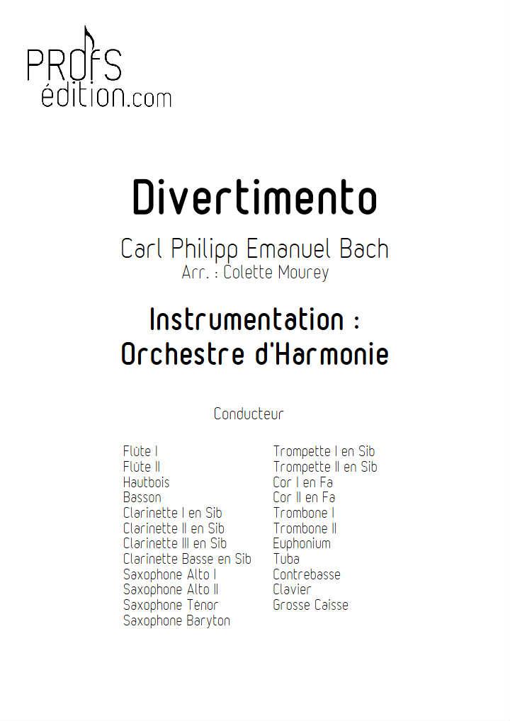 Divertimento - Orchestre Harmonie - BACH C. P. E. - Partition