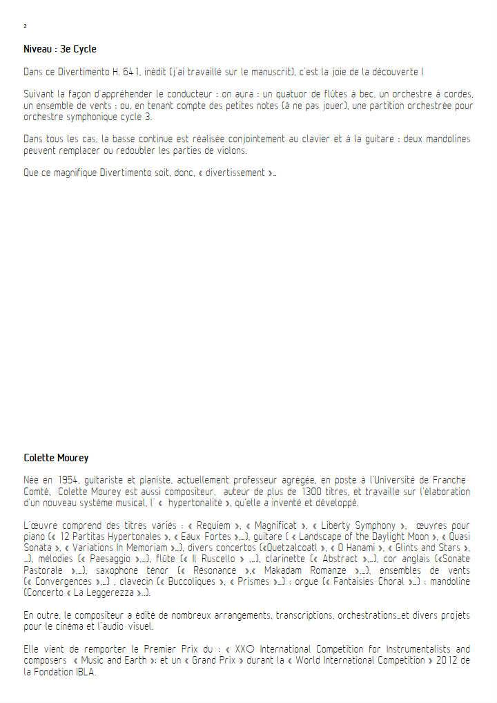 Divertimento - Ensemble à Géométrie Variable - BACH C. P. E. - Fiche Pédagogique
