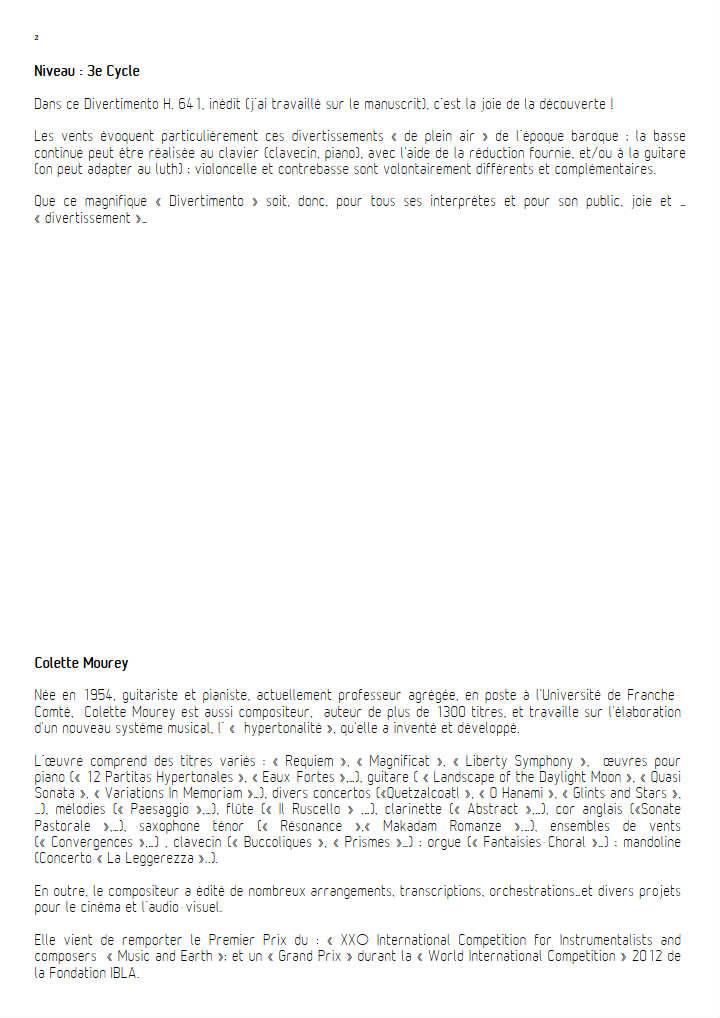 Divertimento - Orchestre Harmonie - BACH C. P. E. - Fiche Pédagogique