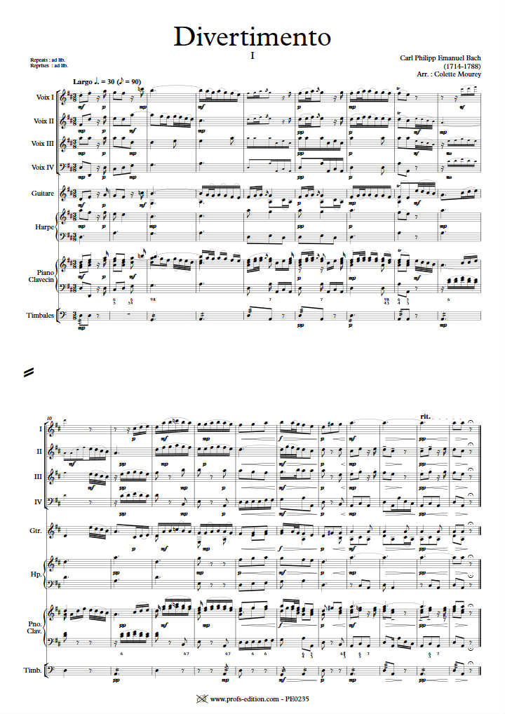 Divertimento - Ensemble à Géométrie Variable - BACH C. P. E. - app.scorescoreTitle
