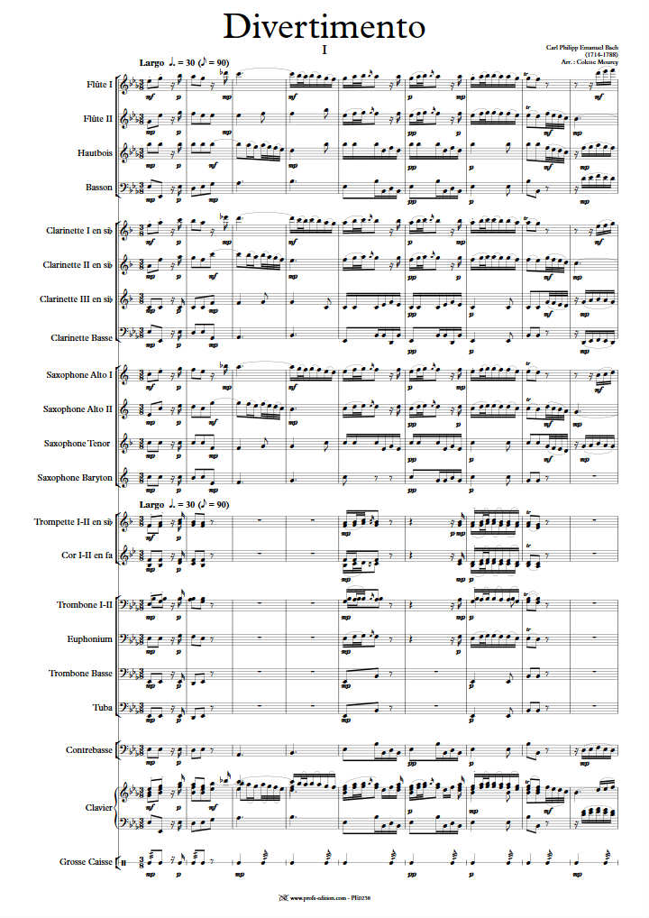 Divertimento - Orchestre Harmonie - BACH C. P. E. - page de garde