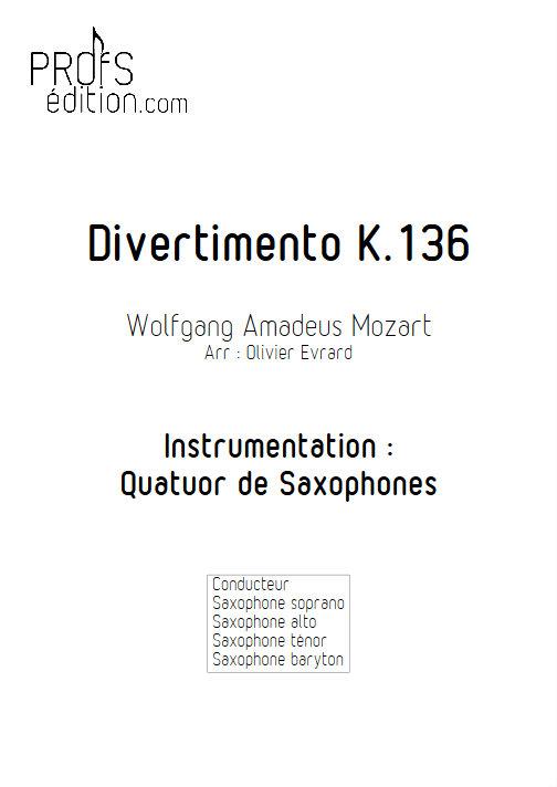 Divertimento KV 136 - Quatuor de Saxophones - MOZART W. A. - page de garde