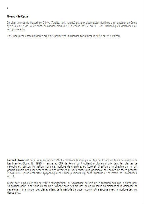 Divertimento KV 136 - Quatuor de Saxophones - MOZART W. A. - Fiche Pédagogique