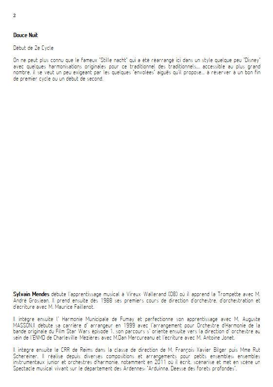 Douce Nuit - Quatuor Cuivres - TRADITIONNEL - Fiche Pédagogique