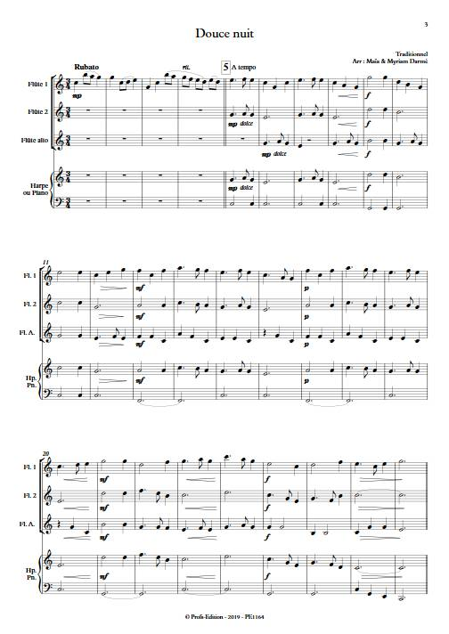 Douce nuit - Ensemble de flûte et piano ou harpe - TRADITIONNEL - app.scorescoreTitle