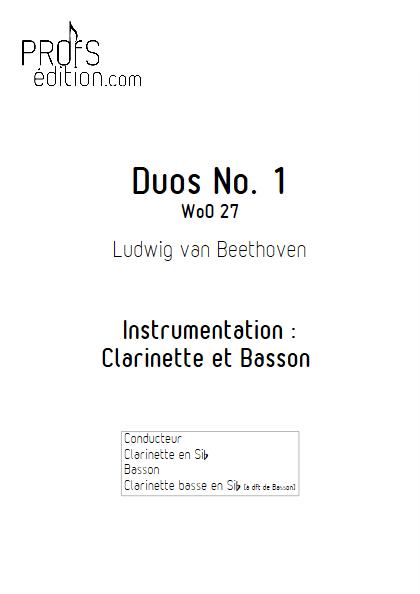 Duo N°1 WoO 27 - Clarinette et Basson (Clar Bs à dft) - BEETHOVEN L. V. - page de garde