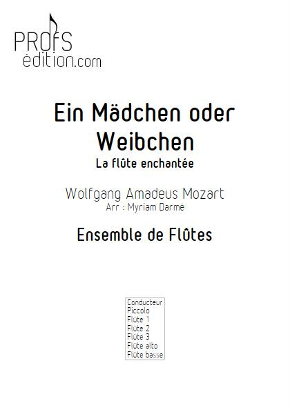 Ein Mädchen oder weibchen - Ensemble de Flûtes - MOZART W.A. - page de garde