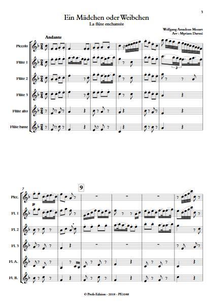 Ein Mädchen oder weibchen - Ensemble de Flûtes - MOZART W.A. - Partition