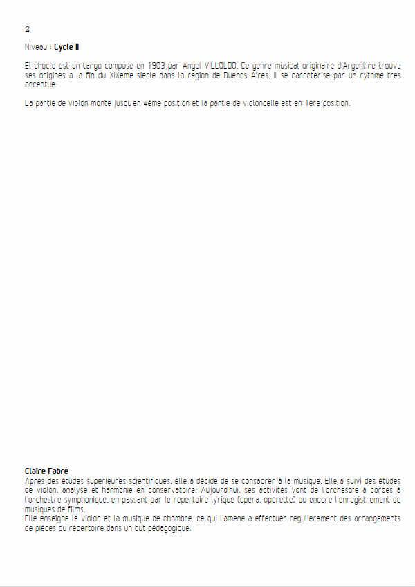 El Choclo - Duo Violon Violoncelle - VILLOLDO A. G. - Fiche Pédagogique