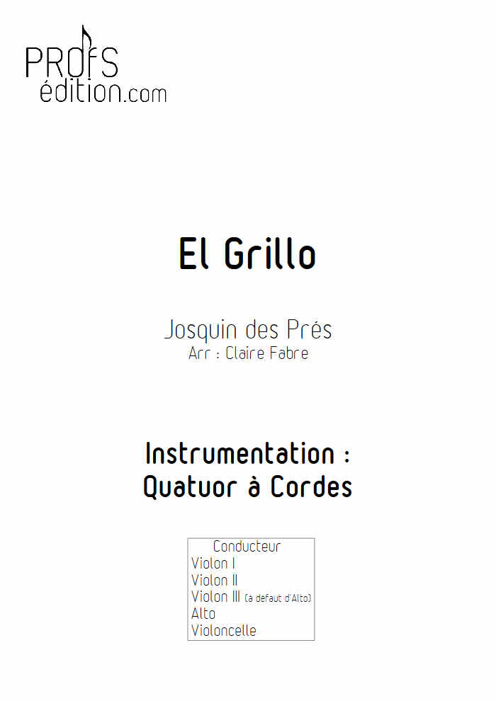 El Grillo - Quatuor à Cordes - DES PRES J. - page de garde