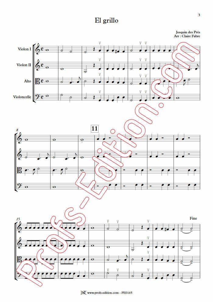 El Grillo - Quatuor à Cordes - DES PRES J. - Partition