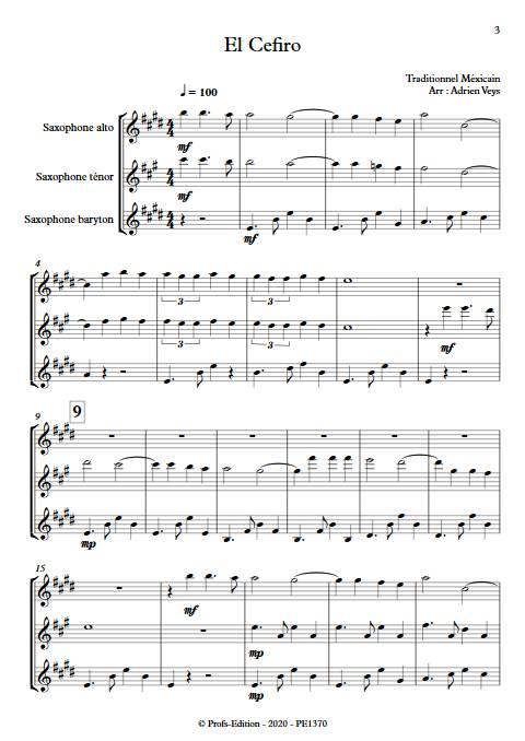 El Cefiro - Trio de Saxophones - Traditionnel Mexicain - app.scorescoreTitle