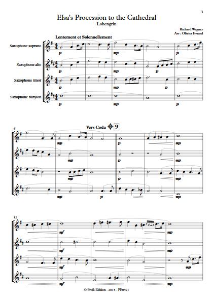 Elsa's Procession to the Cathedral (Lohengrin) - Quatuor de Saxophones - WAGNER R. - app.scorescoreTitle