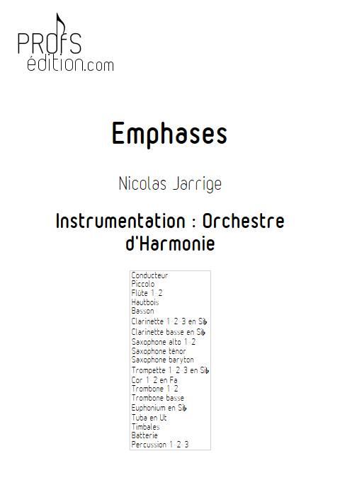 Emphases - Orchestre d'Harmonie - JARRIGE N. - page de garde