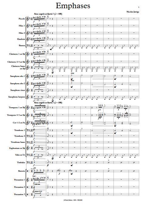 Emphases - Orchestre d'Harmonie - JARRIGE N. - Partition