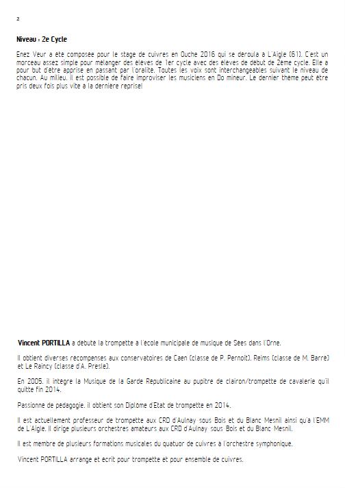 Enez Veur - Ensemble à Géométrie Variable - PORTILLA V. - Fiche Pédagogique