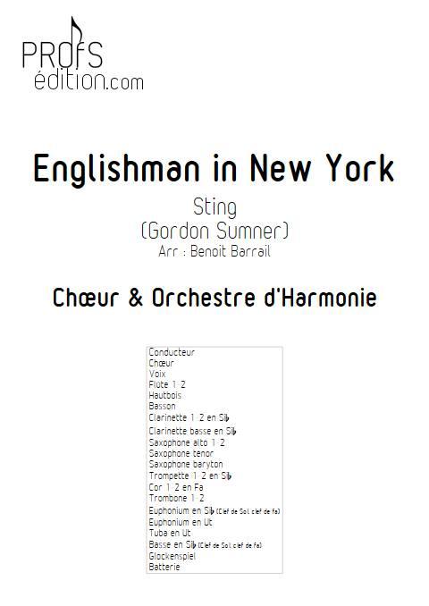 Englishman in New York - Orchestre d'Harmonie - STING - page de garde