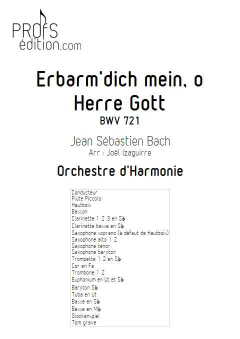 Erbarm'dich mein, o Herre Gott - Orchestre d'Harmonie - BACH J. S. - page de garde