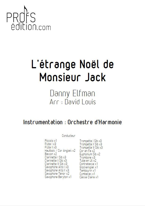 L'étrange Noël de Monsieur Jack - Orchestre Harmonie - ELFMAN D. - page de garde