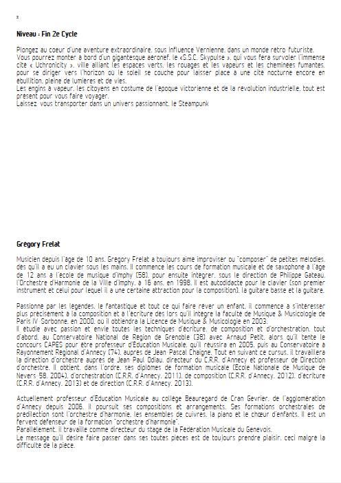 Fanfare for Uchronical Times - Orchestre d'Harmonie - FRELAT G. - Fiche Pédagogique
