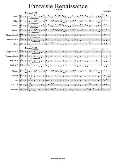 Fantaisie Renaissance - Orchestre Symphonique - COLLIN P. - Partition