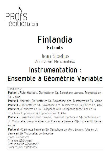 Finlandia - Ensemble Variable - SIBELIUS J. - page de garde