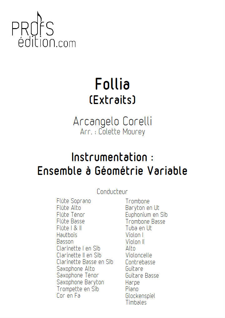 La Follia - Ensemble à Géométrie Variable - CORELLI A. - page de garde