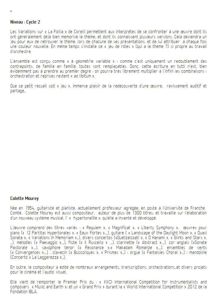 La Follia - Ensemble à Géométrie Variable - CORELLI A. - Fiche Pédagogique