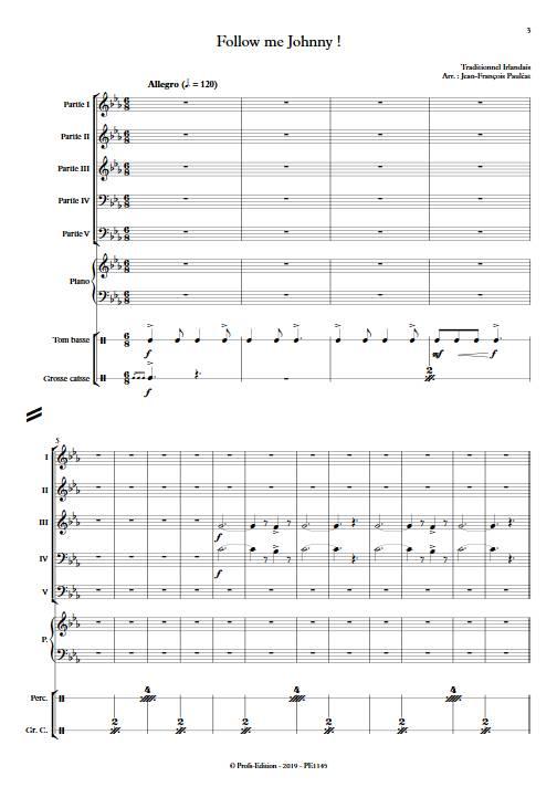 Follow me Johnny - Ensemble variable - TRADITIONNEL IRLANDAIS - Partition
