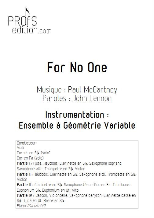For no One - Ensemble Variable - MCCARTNEY P. - page de garde
