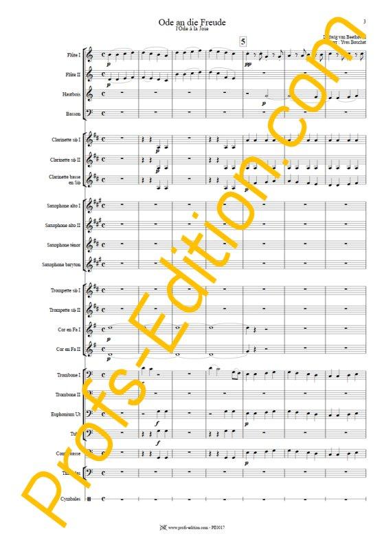 L'hymne à la joie - Orchestre Harmonie - BEETHOVEN L. V. - Partition