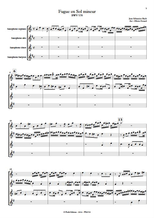Fugue BWV 578 - Quatuor de Saxophones - BACH J. S. - Partition