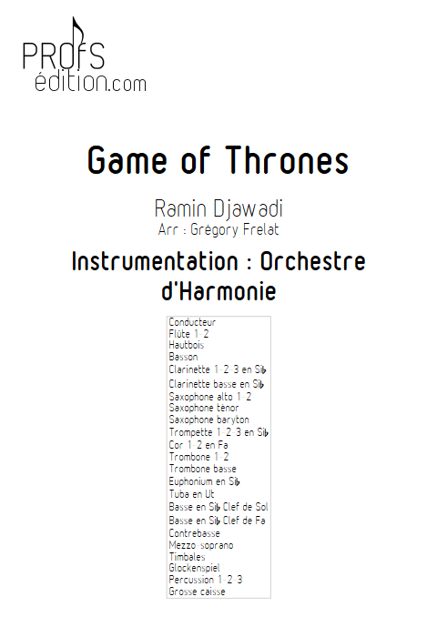 Game of Thrones - Orchestre d'Harmonie - FRELAT G. - page de garde