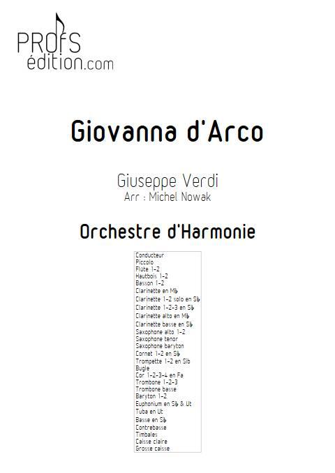 Giovanna d'Arco - Orchestre d'Harmonie - VERDI G. - page de garde