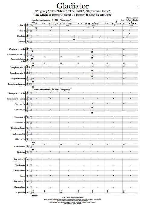 Gladiator - Orchestre d'Harmonie - ZIMMER H. - Partition