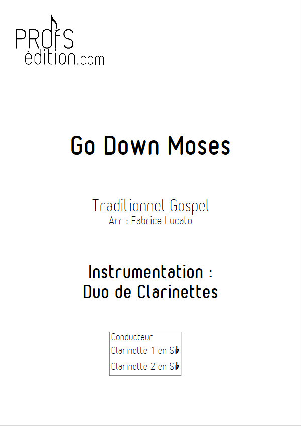 Go Down Moses - Duo de Clarinettes - TRADITIONNEL GOSPEL - page de garde