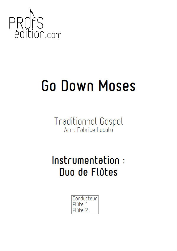 Go Down Moses - Duo de Flûtes - TRADITIONNEL GOSPEL - page de garde